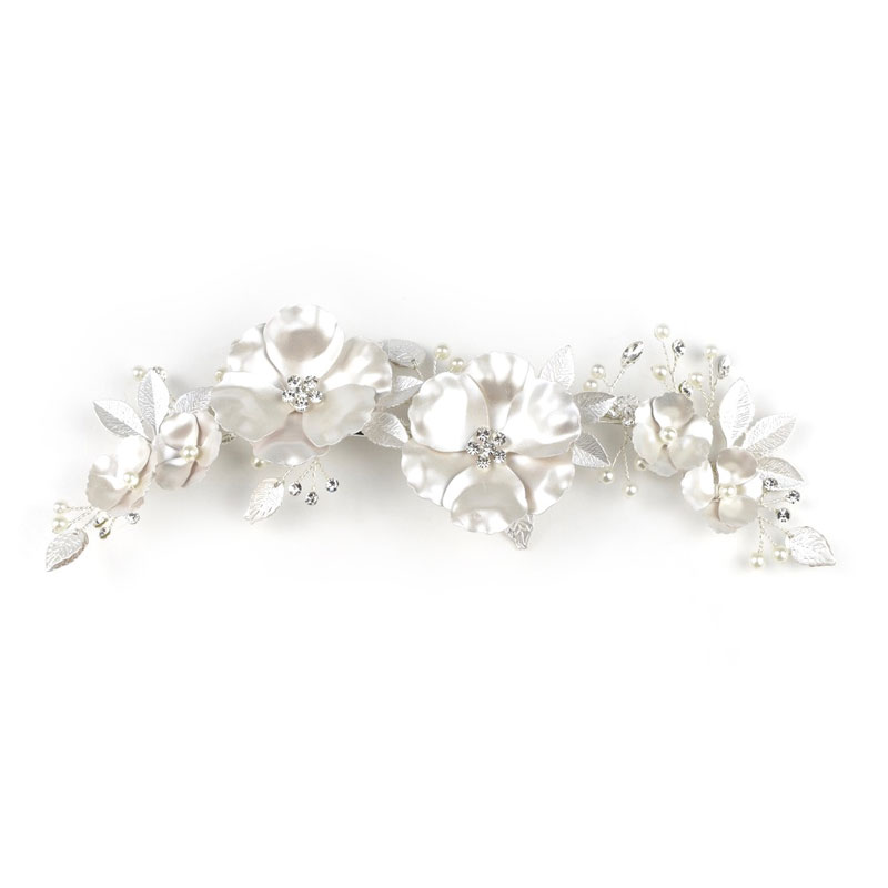 silver blush crystal and pearl hair piece