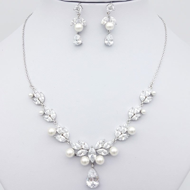 silver pearl cz necklace set