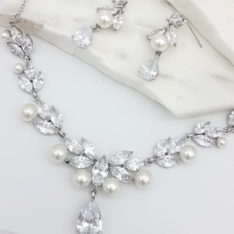 silver pearl and cz necklace set