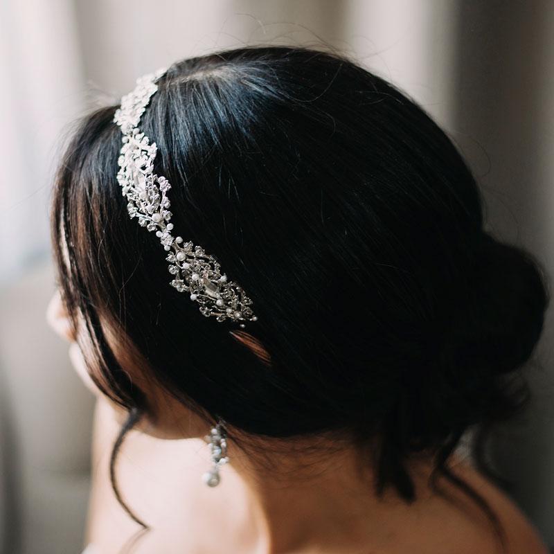 Pearl and crystal bespoke bridal headband
