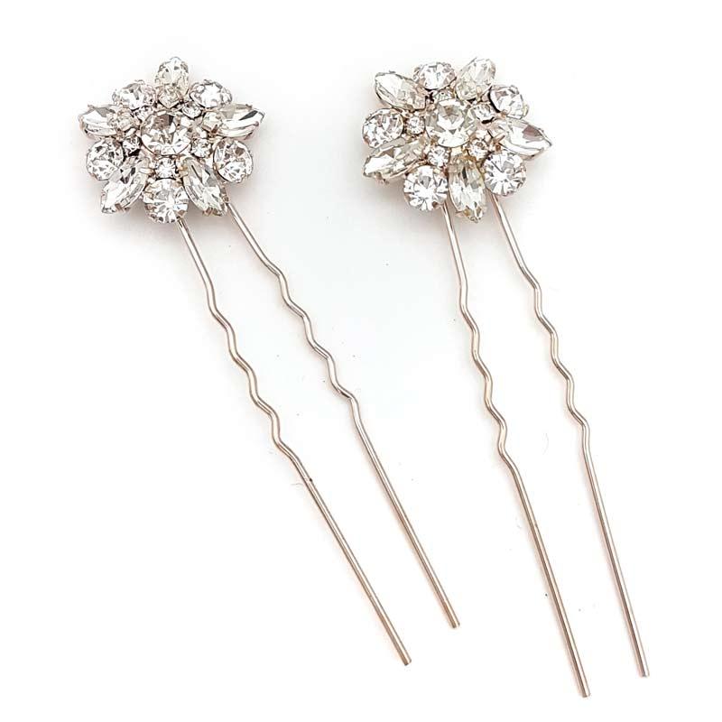 rose gold diamante hair pins
