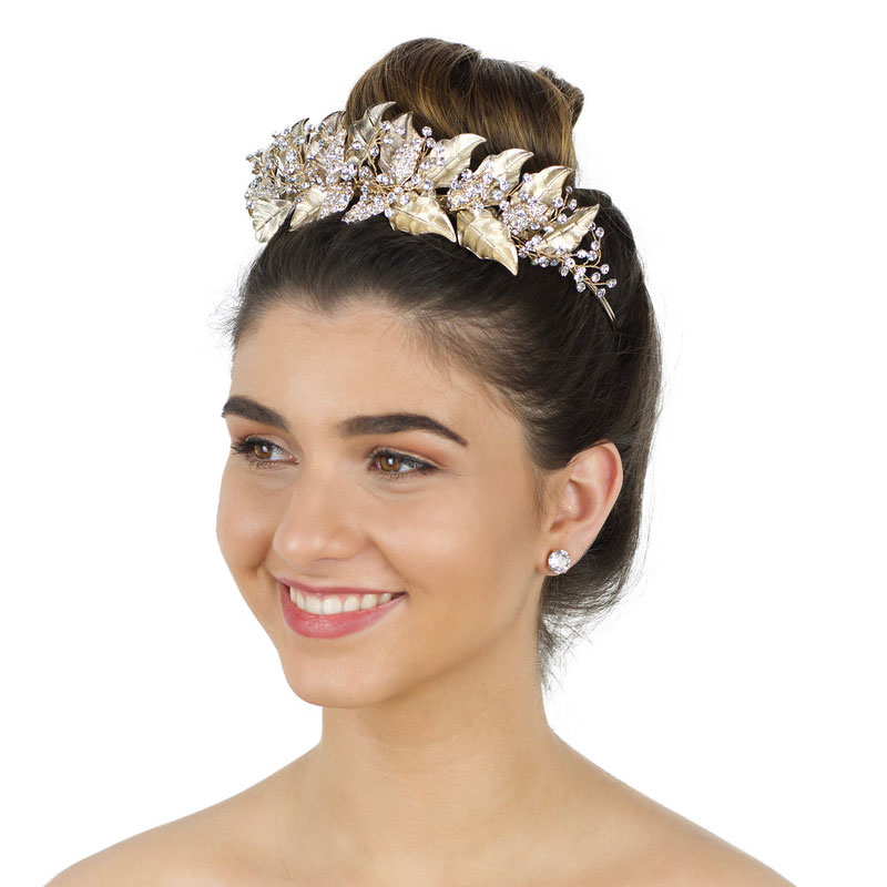 silver gold or rose gold bridal crown