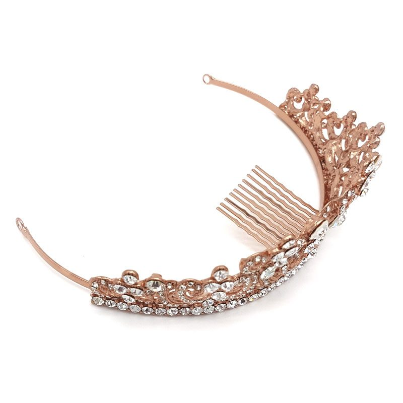 rose gold crystal bridal crown