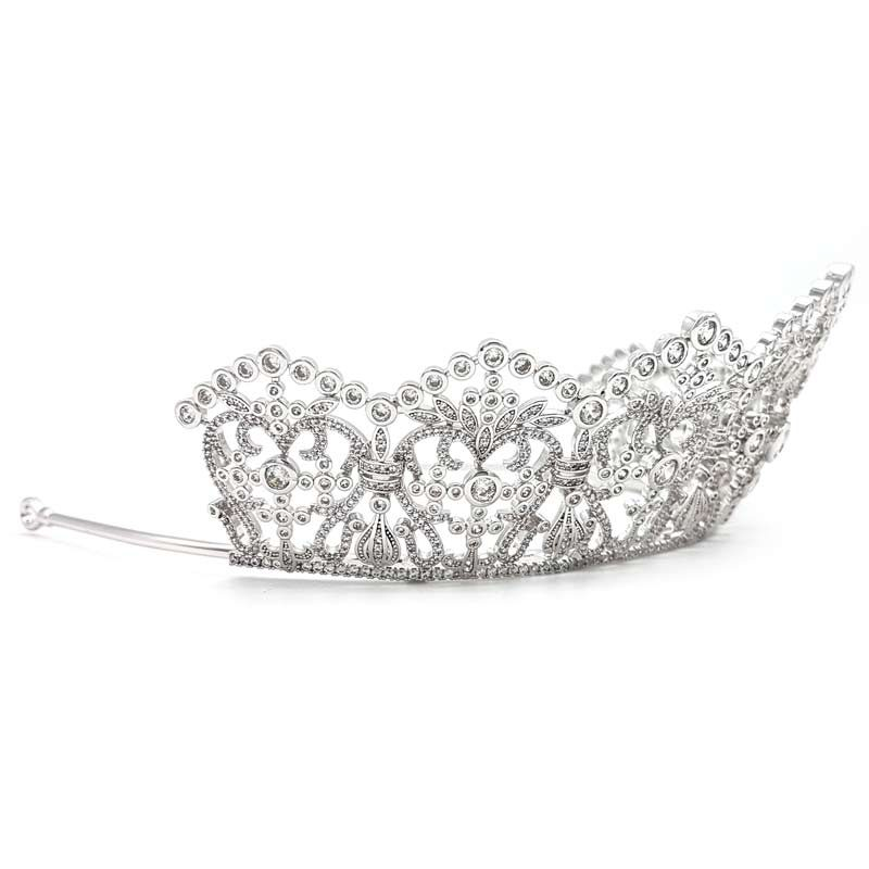 silver cz bridal crown