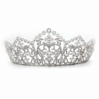 tall silver cubic zirconia bridal tiara