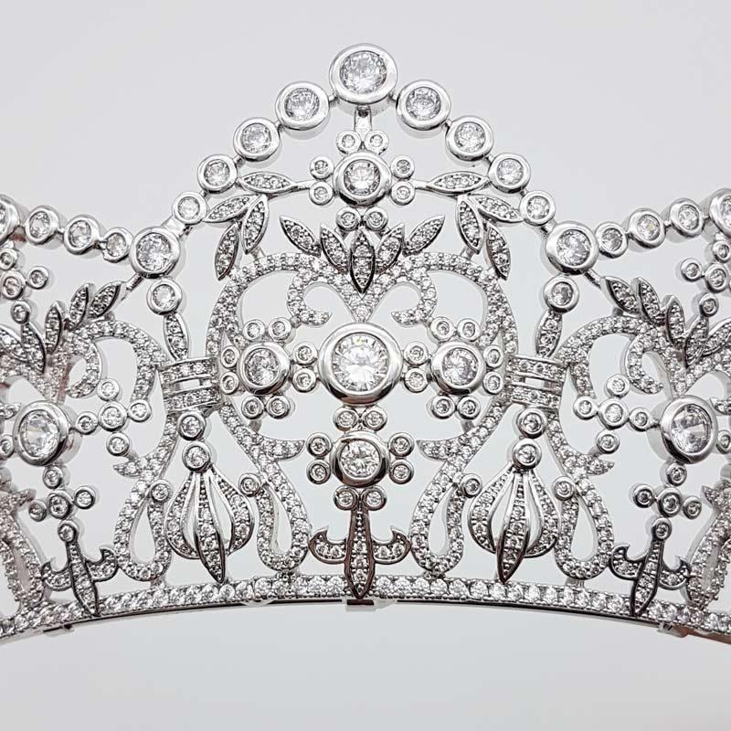 qulaity silver cubic zirconia bridal crown