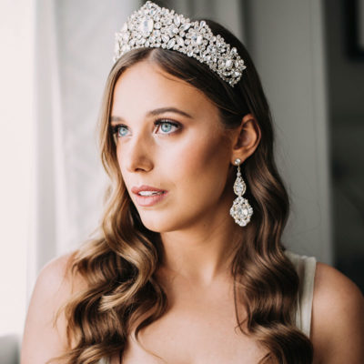 Gold crystal statement bridal crown