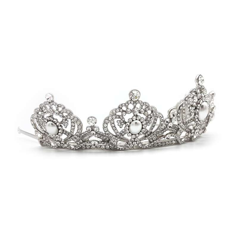 silver pearl and crystal bridal tiara