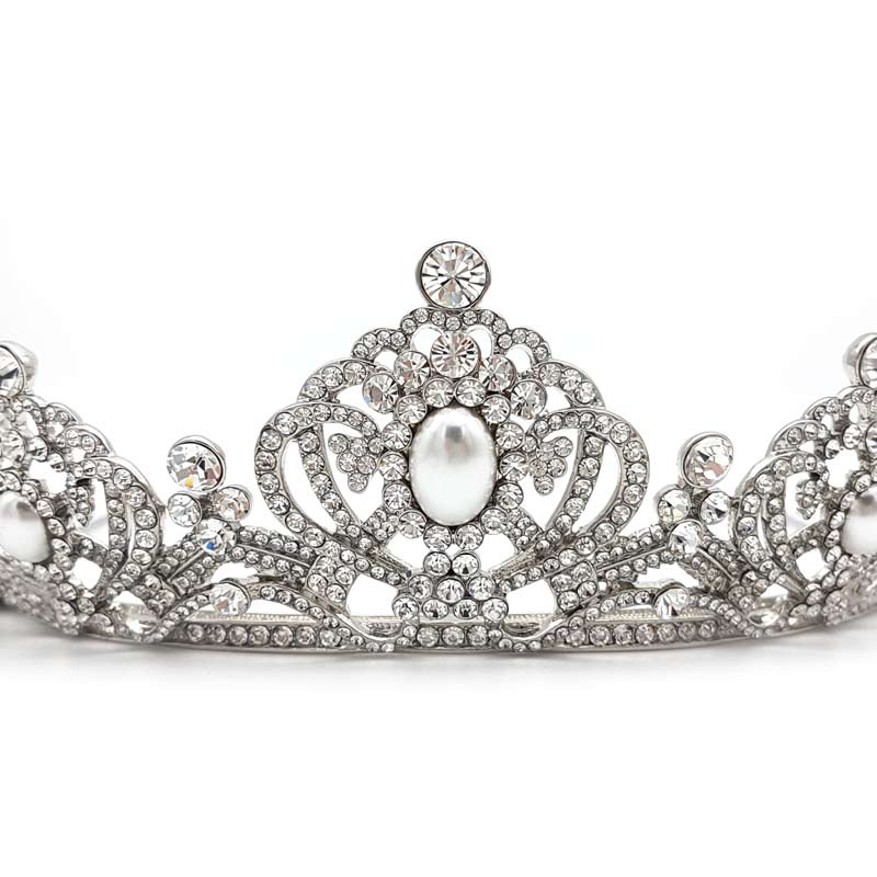 ivory pearl and crystal bridal tiara