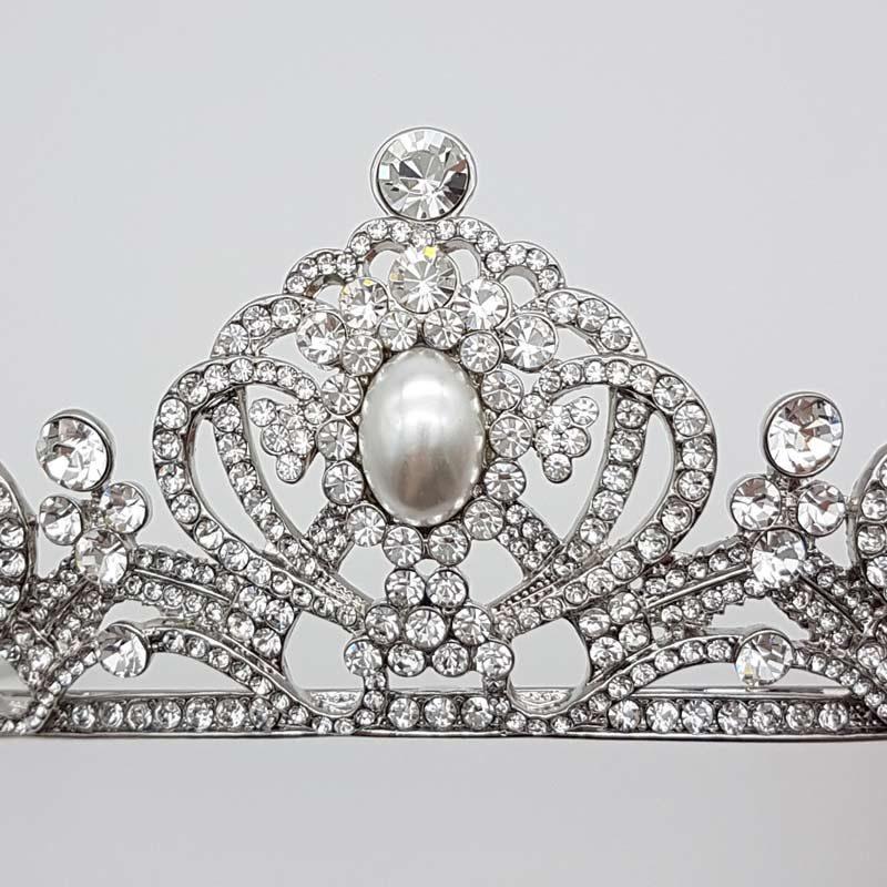pearl crystal silver bridal tiara