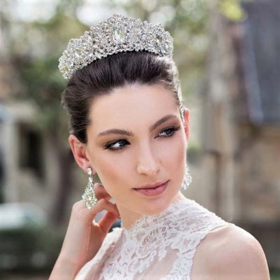silver crystal bold bridal crown