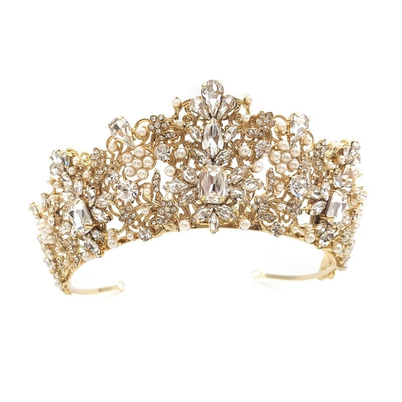 gold crystal and pearl bridal crowns