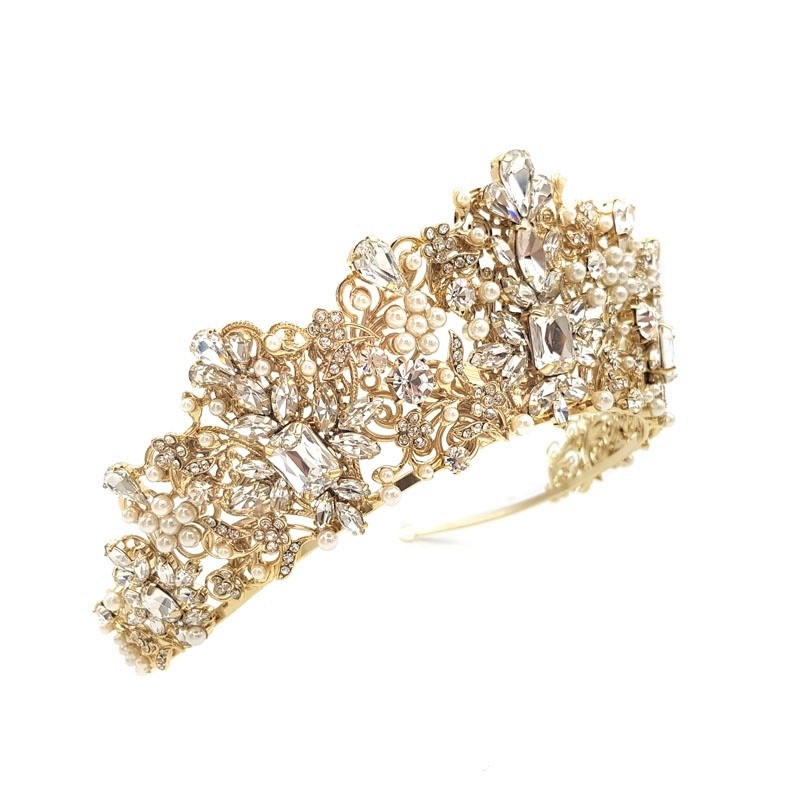 gold pearl and crystal bridal crown