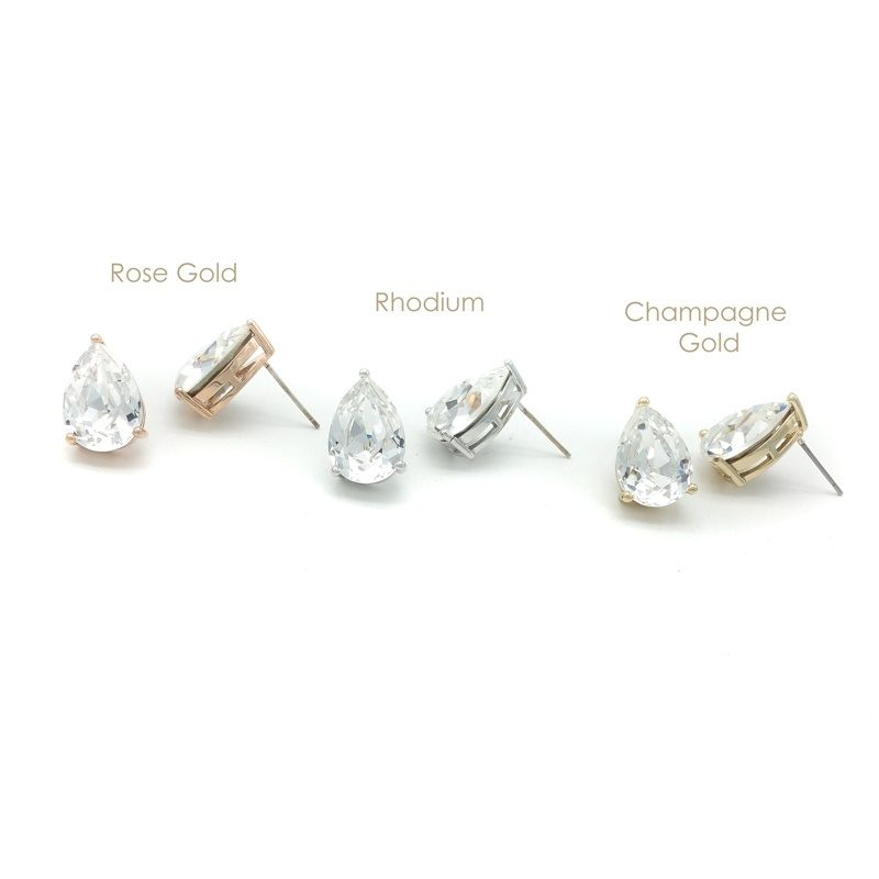 clear swarovski crystal tear drop studs