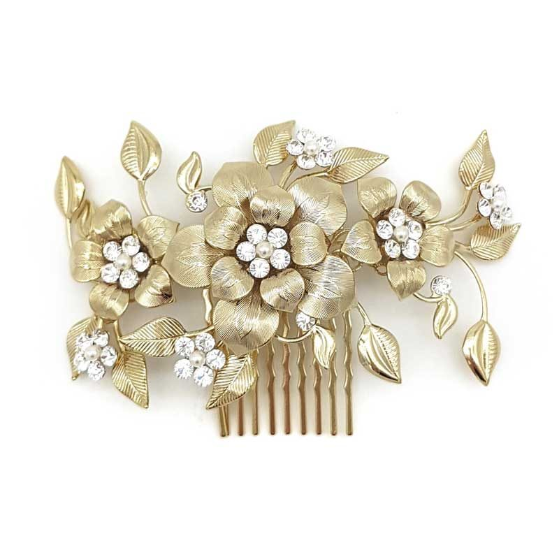 golf floral bridal swarovski hair comb