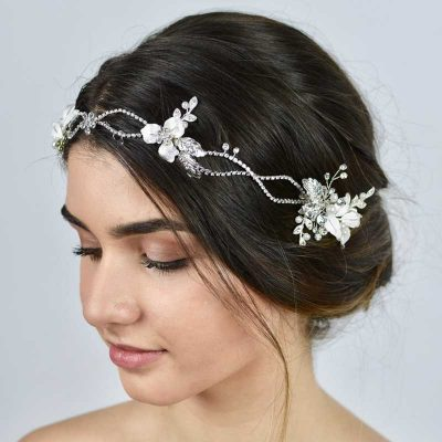 silver floral pearl and crystal hair vine