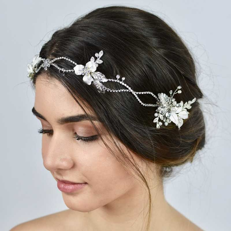 silver floral pearl and crystal hair vine headband