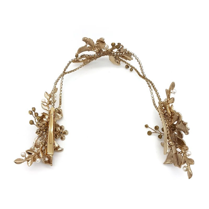 gold pearl and crystal bridal hair vine