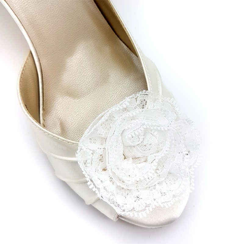 white lace flower shoe clips