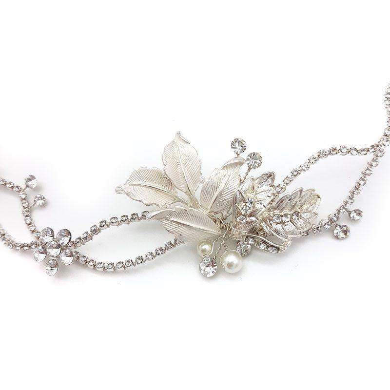 silver floral pearl bridal hair vine