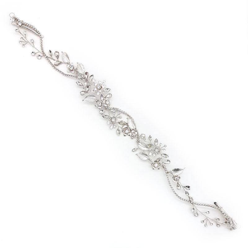 silver crystal wedding hair vine