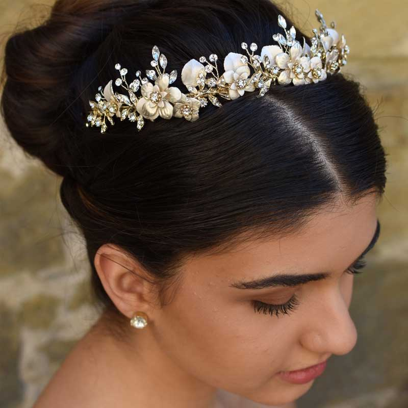 gold pearl and crystal floral headband or crown