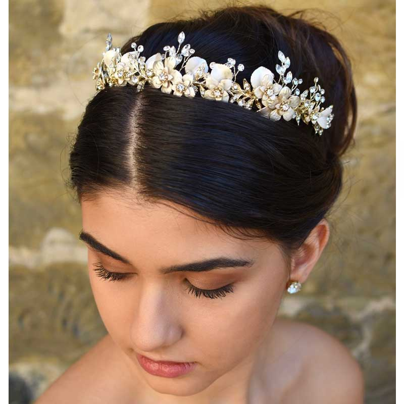 gold floral crystal hair crown or headband