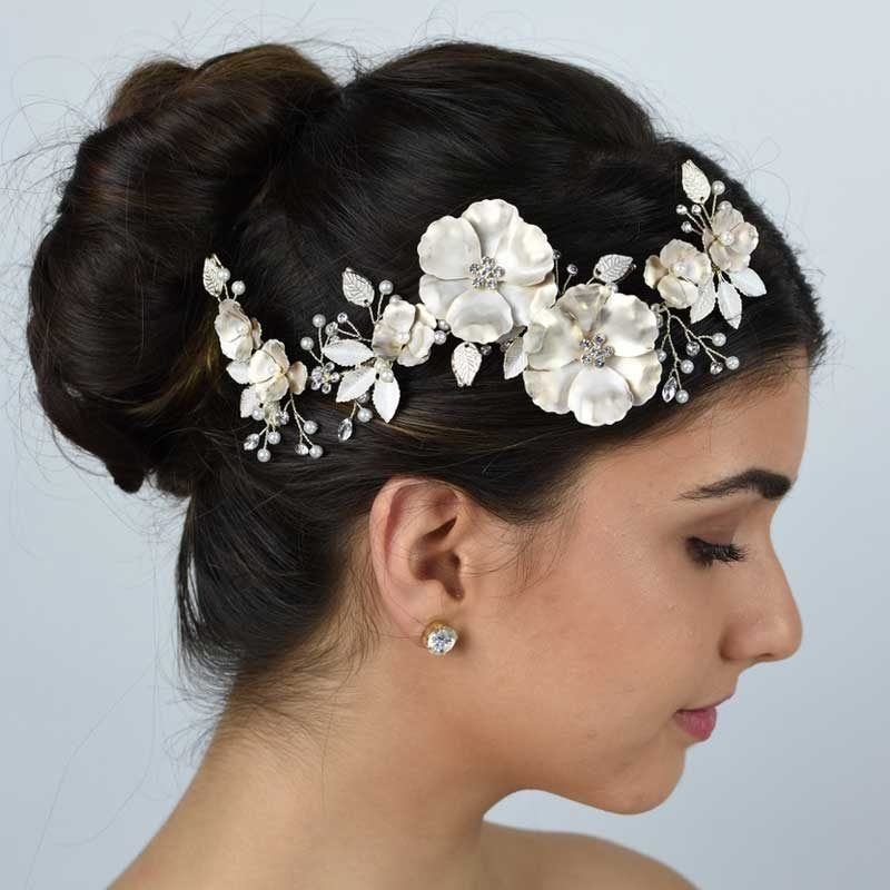 silver floral bridal hair piece