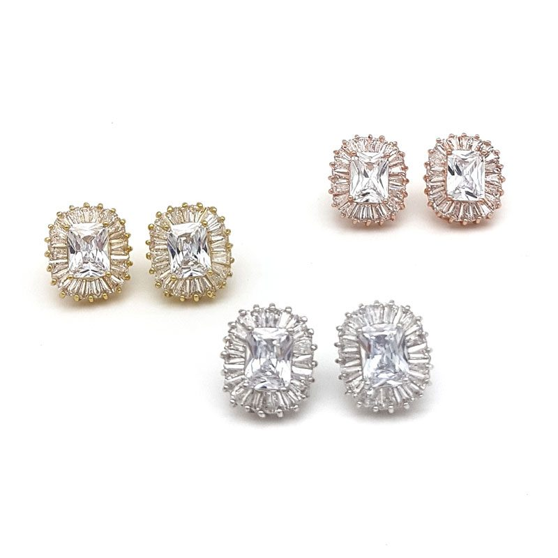 paved cubic zirconia rectangle bridal studs