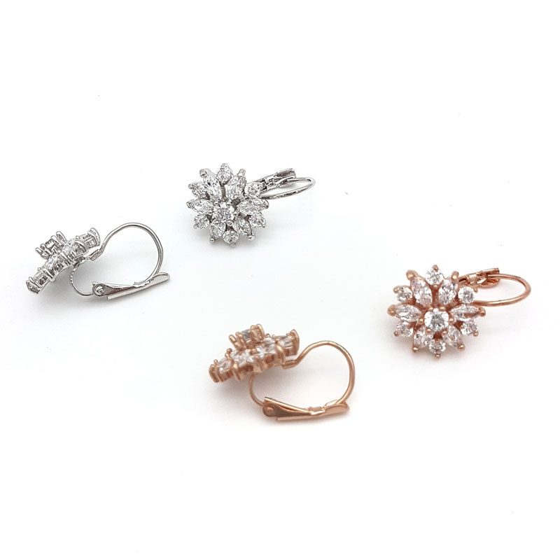 silver or rose gold cz floral bridal earrings