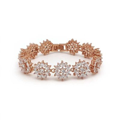 rose gold cubic zirconia bridal bracelet