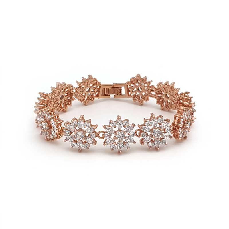 rose gold cubic zirconia bridal bracelet