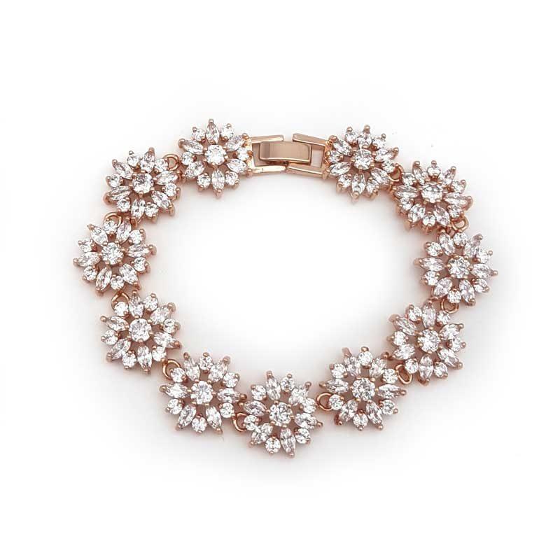 rose gold cz bridal bracelet