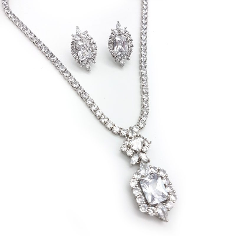 silver pendant necklace and earring set