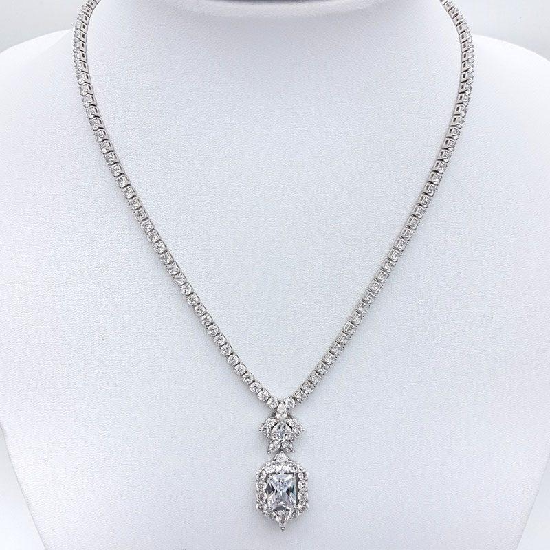 silver cz bridal pendant necklace