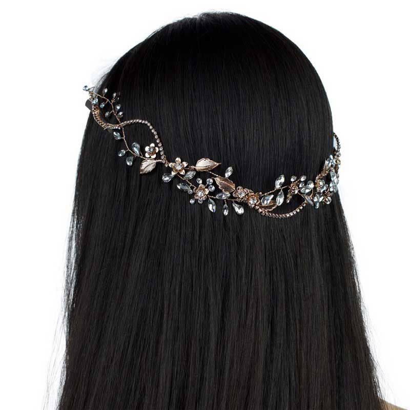 rose gold floral crystal hair vine