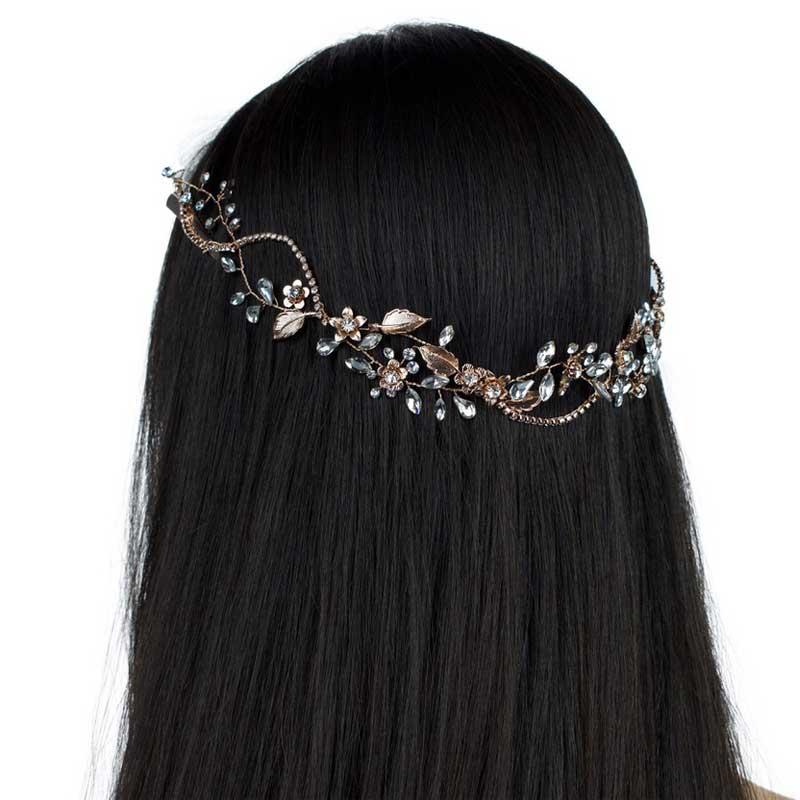 rose gold floral crystal hair vine