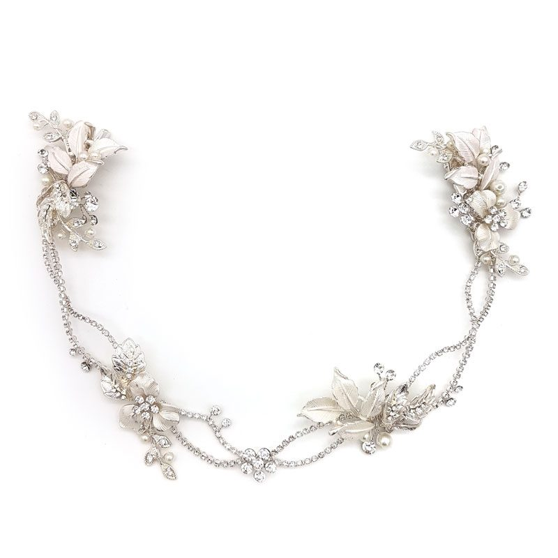 long silver pearl floral bridal hair vine