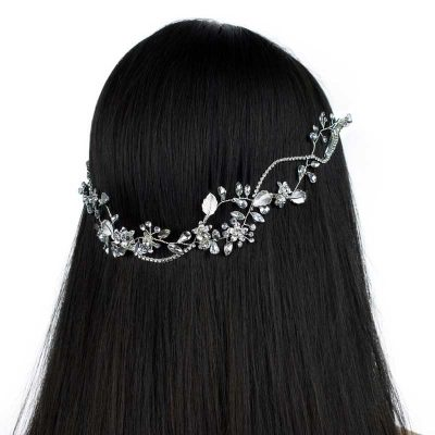 silver floral crystal hair vine