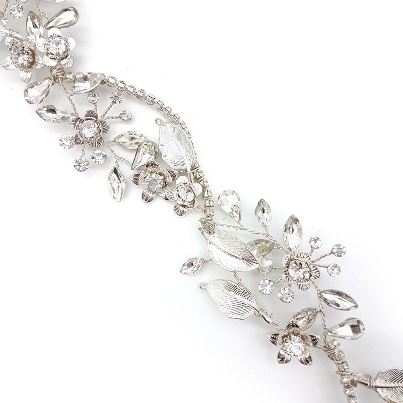 silver crystal bridal hair vine