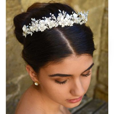 silver floral pearl and crystal hair crown