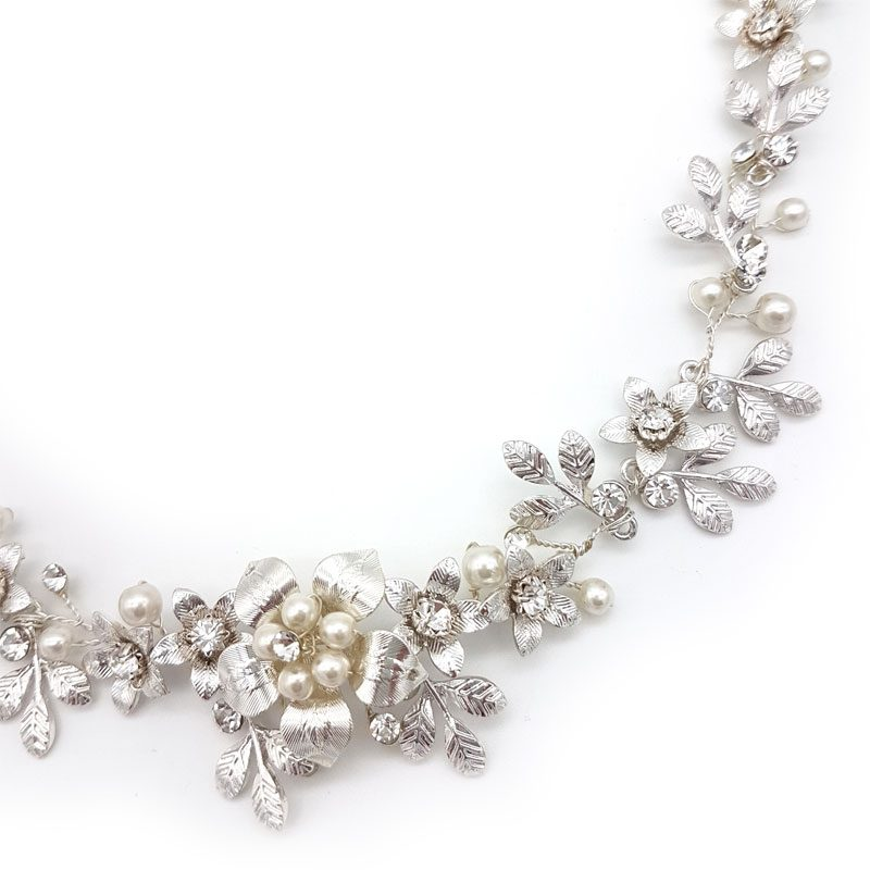 silver crystal and pearl floral hair vine