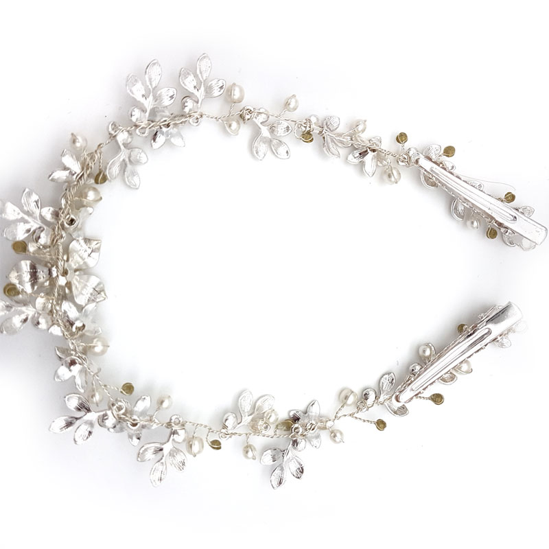 silver floral pearl and crystal bridal hair vine