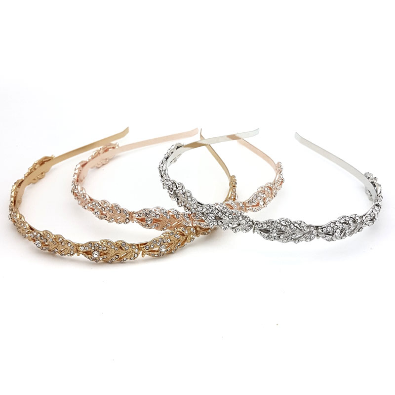 silver, gold or rose gold diamante bridal headband