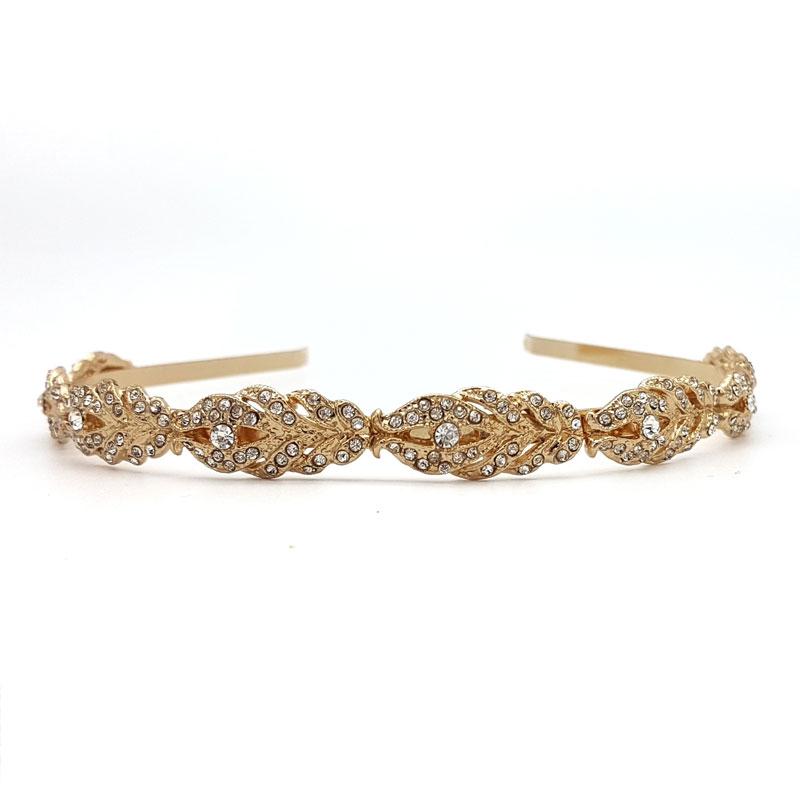 gold diamante bridal headband