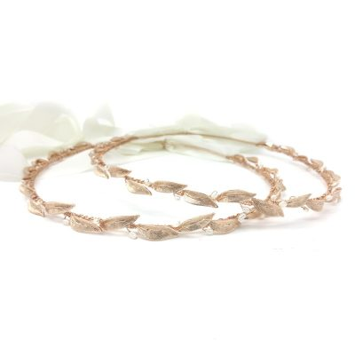 rose gold olive leave and pearl bridal stefana crowns