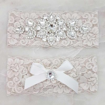 latte lace garter set with crystal and pearl detailing