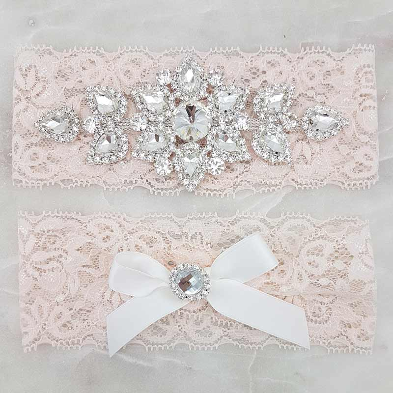 blush lace brida garter set with crystals
