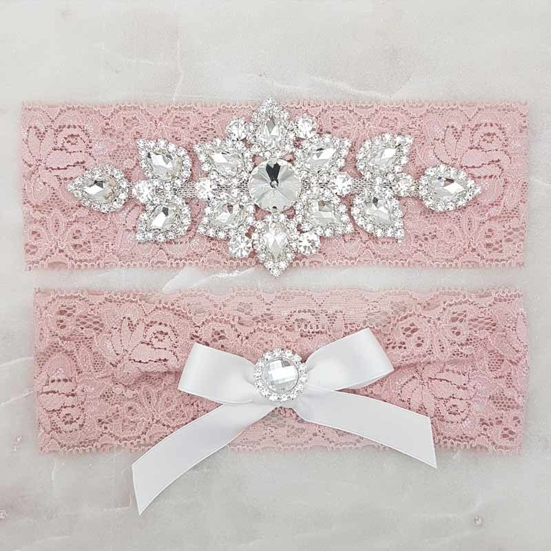 dusty pink lace and crystal bridal garter set
