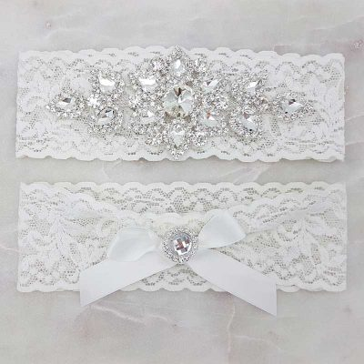 white lace and crystal bridal garter set